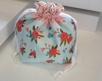 Drawstring Project Bag, Medium, Knitting Bag