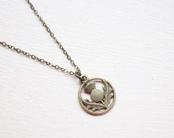 Bronze Scottish Thistle Necklace- Outlander Necklace - Scotland Necklace - Double Sided Bronze
