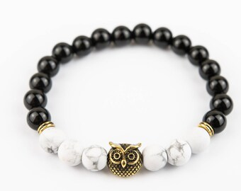 Golden Owl bracelet Gloss marbles with White stones one of a kind