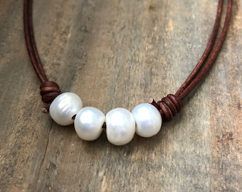 Multi Pearl Choker Necklace, Pearl Necklace, Pearl Choker, Freshwater Pearl and Brown Leather Choker