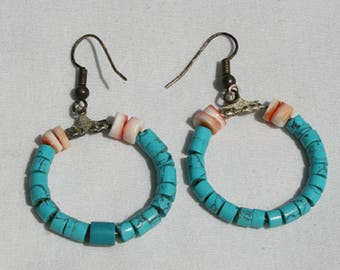 Vintage Navajo Turquoise and Abalone Shell Hoop Earrings