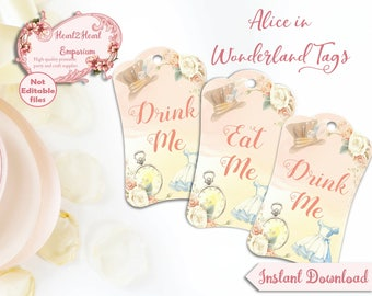 Digital Alice in Wonderland Eat Me Drink Me Tags, Hang Tags, Printable, Craft, Collage Sheet, Mad Hatter Tea Party, INSTANT DOWNLOAD