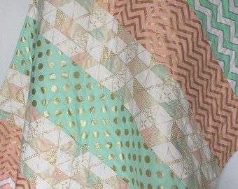 Baby Girl Quilt Patchwork Coral Gray Chevron Fox