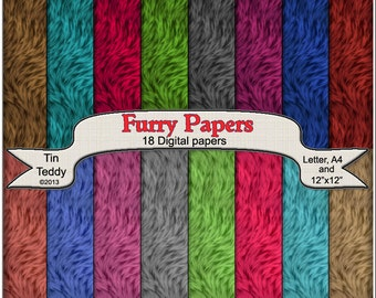 Digital Furry Papers - Printable Fur Backgrounds for your Crafting Projects, Scrapbooking & More Instant Download Fur Paper Fur Printable