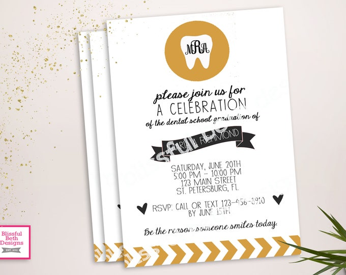 DENTAL GRADUATION INVITATION  Dental Graduation Invitation, Dental Graduation Invite, Dental Celebration, Dental Graduate, Dental Hygienist