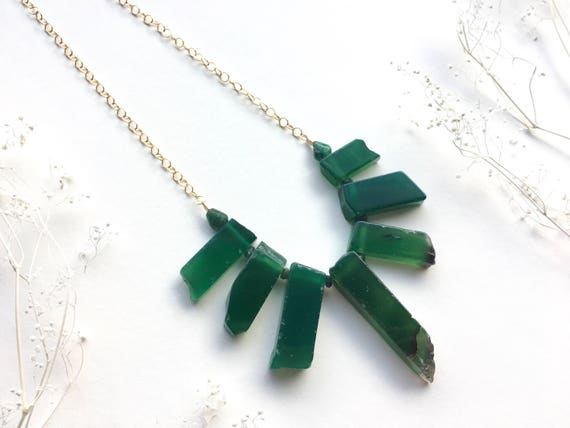 Green Aventurine & Emerald Statement Necklace // 14k Gold Filled or Oxidized Sterling Silver