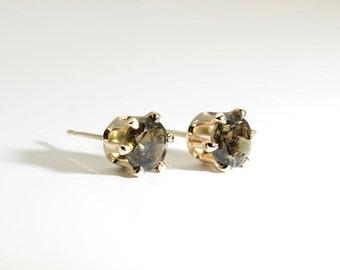 Meteoric Moldavite (Rare), Genuine Moldavite, 6mm x 0.80 Carat, Round Cut, 14 Karat 'Gold Fill' Post Earrings
