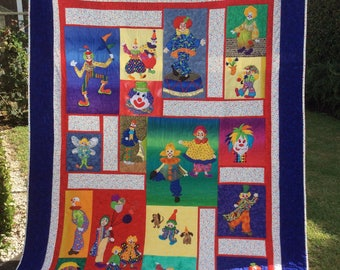 Handmade 'Clowning Around' Patchwork Quilt