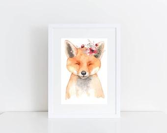 Nursery Print - Nursery Decor - Set of 6 Unframed Nursery Prints -  Animal Print - Fox - Cat - French Bulldog - Sheep - Rabbit - Raccoon