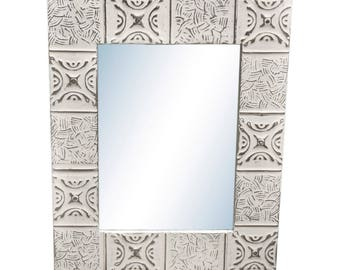 Basket Weave 22 in. x 34 in. Tin Mirror