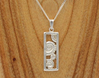 Rectangular Multi Ammonite Pendant - Sterling Silver