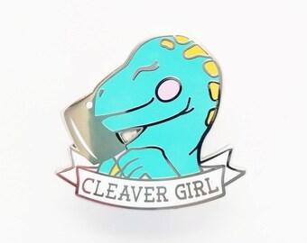Cleaver Girl Dinosaur Enamel Pin - Hard Enamel Pin Jurassic Park Lapel Pin Dinosaur Pin Dino Kawaii Pin Dinosaur Brooch Velociraptor Pin