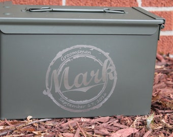 Gift for men, Brother christmas gift, personalized ammo can, ammo box, Hunting Gift Box, Deer antlers wedding bridal party gift - engraved