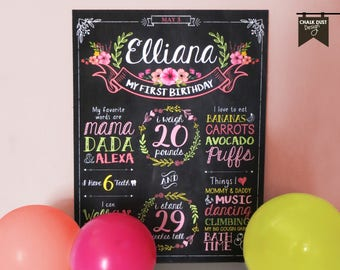 "Custom Floral, boho chalkboard style first or any age birthday milestone poster. Flowers, wreaths, banner, vintage  18 x 24"" poster, sign"