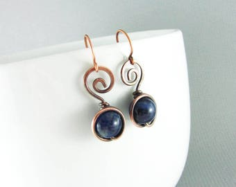 Copper Earrings Wire Wrapped Earrings Blue Sodalite Earrings Copper Jewelry Wire Wrapped Jewelry Copper Wire Wrap Sapphire Blue Earrings