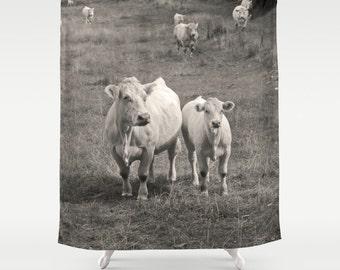 White Cows, Shower Curtain,Black White,Animal Curtain,BathCurtain,Bathroom Decor,Accessories,Bathroom Art,Designer Curtain,Interior Design