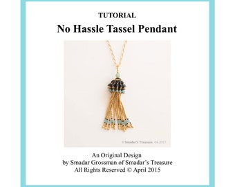 Beading Tutorial, No Hassle Tassel Pendant. Beading Pattern with 2-hole Triangle Tango Beads. Beadweaving Fringe Pendant. Instant Download