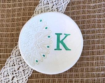Unique Bridesmaid Gift or Wedding Gift - Lace Impressed Monogrammed Ceramic Ring Dish Personalized, Wedding Ring Holder, Trinket Dish, Jewel
