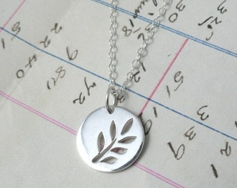 Leafy Branch sterling silver leaf botanical charm necklace nature jewelry