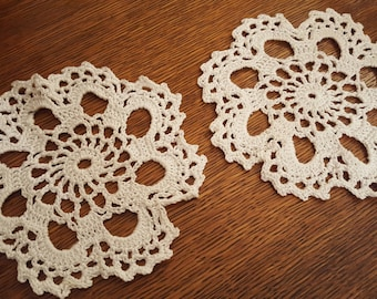 """Pair of Doilies 6"""" in Diameter, White, Yorkshire England"""