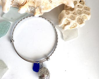 Aromatherapy Sea Glass Bangle - Cobalt Blue