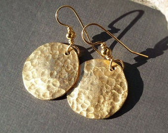 Gold Disc Earrings Ancient Egyptian Jewelry Hammered Brass Round Dangles and 14k Gold Filled Ear Wires
