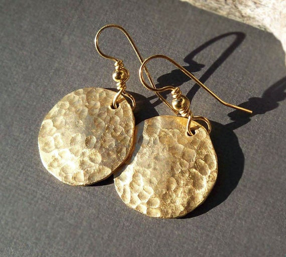 Gold Disc Earrings Ancient Egyptian Jewelry Hammered Brass
