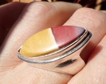 SILVER plated ring and Jasper Mookaite (BA198)