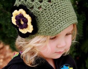 Crochet Newsboy Newsgirl Cap--Sage Green with Flower--Any Size