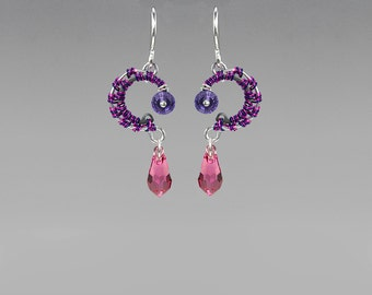 Swarovski Crystal Earrings, Purple Swarovski, Pink Swarovski, Industrial Jewelry, Space Jewelry, Wire Wrapped Earrings, Alpha Centauri II v5
