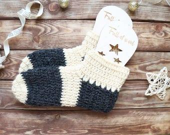 Indoor slippers Crochet socks Crochet slippers Knitted socks Bedroom slippers Women slippers Grey slippers Slippers socks Home slippers