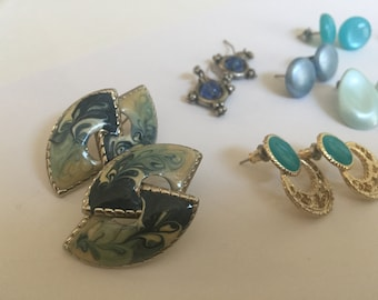 Destash Vintage Pierced earrings Blues and Greens  10 pair