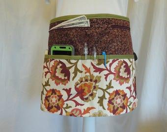 Autumn color floral design vendor apron