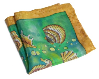 Green pocket square hand painted silk OOAK nautical gift for him Father's day shells seahorse mens handkerchief green hankie
