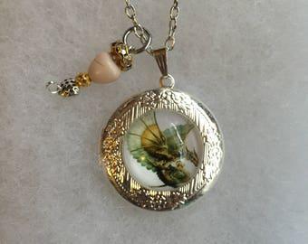 Handmade Dragon Locket Necklace and Charm