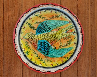 Handpainted Bespoke Bird-Swallow Decorative Porcelain Plate - Any Occasion - Dinner - Tea, Coffee and Cake