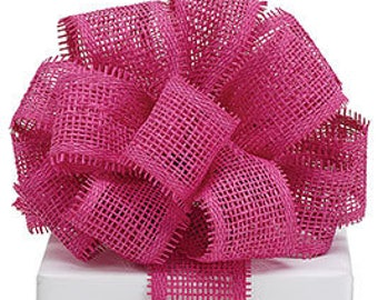 Fuchsia woven paper mesh ribbon - BY THE YARD