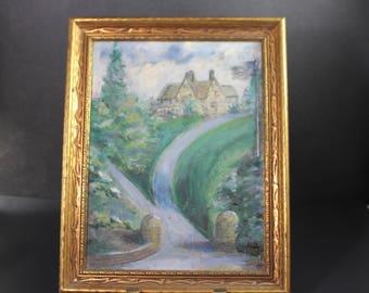 Primitive Oil Painting in Vintage Frame