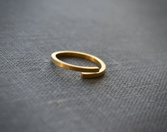 squared thread ring. 18k gold filled