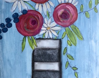 Whimsical Mixed Media Floral Bouquet Painting on Canvas 12x16