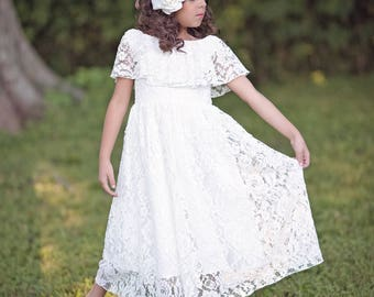 Lace Flower Girl Dress, First Communion Dress, Bohemian Dress, Girls Lace Dress, Girls Maxi Dress, Vintage White Lace Dress, Delilah
