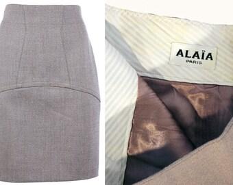 Authentic AZZEDINE ALAIA PARIS Vintage pencil skirt minimalist high waist skirt Structured lined grey wool skirt