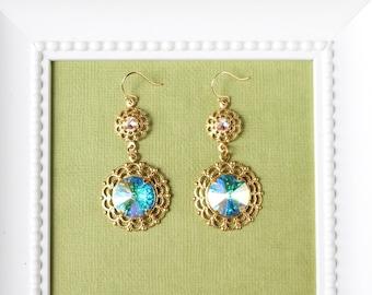 Swarovski crystal dangle earrings, gold wedding earrings, rhinestone bridal earrings, filigree bridal jewellery, costume earings. SOPHIA