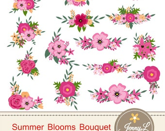 Pink flower clipart etsy summer flower bouquet clipart pink wedding flowers shabby flower bunches floral arrangement for mightylinksfo Image collections