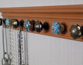 """READY TO SHIP jewelry necklace holder with 7 decorative knobs 20"""" great gift of decor & jewelry storage organization, pumpkin boho style"""