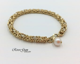 Gold Bracelet Bangle, Chain Maille, Chain Mail, Byzantine Weave, Gold Filled & Sterling Silver