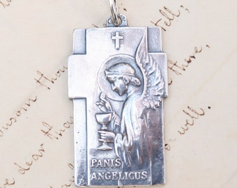 Panis Angelicus Angel Pendant - Bread of Angels Medal - Sterling Silver Antique Replica