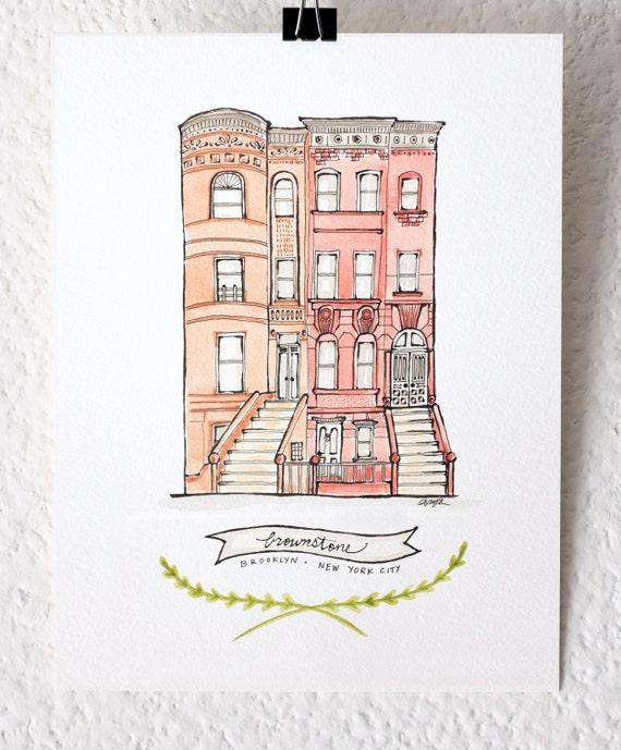 Brooklyn brownstone watercolor art print illustration like this item malvernweather Gallery
