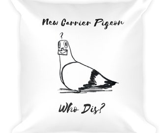 Confused Carrier Pigeon Square Pillow