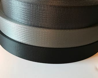 "20 yds 2"" polyester seatbelt  webbing - light grey, dark grey, silver  and black"